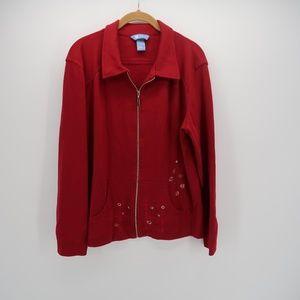 Koret Embroidered Zip Up Long Sleeve Jacket Coat
